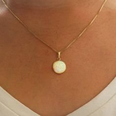 14K opal necklace white opal pendant gold necklace gold