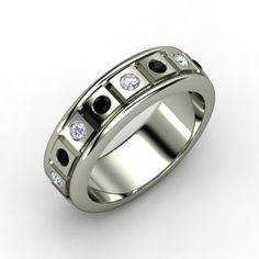 6872d2fe83d Men s Sterling Silver Ring with Black Onyx   Diamond - Perspective