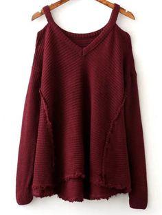 Only $25.49 for Solid Color V Neck Cold Shoulder Sweater