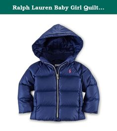 Ralph Lauren Baby Girl Quilted DOWN Jacket 6 Month Deep Atlantic. Fully lined and filled. 650-fill-power down. Fill power measures the loft of the down and ranges from 450 to 1,000 for apparel. Shell and lining: 100% polyester. Fill: 75% down, 25% other feathers. Machine washable. Signature embroidered pony at the left chest. Hood. Full front zip. Long sleeves with elasticized cuffs. Welt pockets. Elasticized interior hem. Imported.