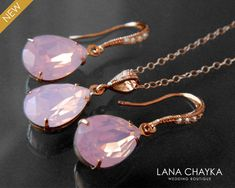 Pink Opal Rose Gold Jewelry Set, Swarovski Rose Water Opal Earrings&Necklace Set, Blush Pink Crystal Bridal Set, Wedding Bridesmaid Jewelry - List of the most beautiful jewelry Prom Jewelry, Bridesmaid Jewelry Sets, Rose Gold Jewelry, Bridal Jewelry Sets, Wedding Jewelry, Gold Wedding, Jewelry Gifts, Fine Jewelry, Opal Earrings