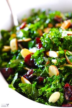 Salad Kale Salad with Warm Cranberry Vinaigrette -- easy, healthy, and so tasty. It's a recipe everyone will love! Kale Salad with Warm Cranberry Vinaigrette -- easy, healthy, and so tasty. It's a recipe everyone will love! Cranberry Vinaigrette, Cranberry Salad Recipes, Kale Salad Recipes, Kale Salads, Chick Fil A Superfood Salad Recipe, Vinaigrette Recipe, Paleo Kale Salad, Quinoa Recipe, Vegetarian Recipes