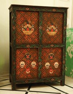 Antique Tibetan Cabinet - Handmade Wooden Cabinets - Tibetan Furniture | Green Tara