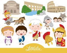 Cute Digital Clipart and DIY printable by LittleLiaGraphic on Etsy Photo Clipart, Girl Clipart, Romans For Kids, Kawaii, Invitation Fete, Ideas Aniversario, Illustrator, Around The World Theme, Birthday Clipart