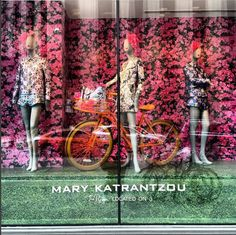 A paradise of flowers, embroidery, lace, print and a bicycle at Hudson's Bay in Toronto. Hudson Bay, Lace Print, Mary Katrantzou, A Boutique, Toronto, Paradise, Bicycle, Display, Embroidery