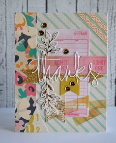 Teri Anderson: A Bit of This. A Bit of That – Today's card - (Crate Paper: Craft Market dsp. Studio Calico-thanks die). Cute Cards, Diy Cards, Your Cards, Crate Paper, Studio Calico, Scrapbook Paper Crafts, Scrapbook Cards, Scrapbooking Ideas, Scrapbook Layouts