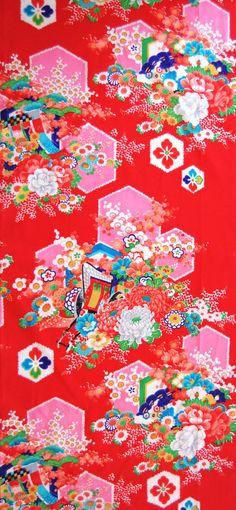 Vintage Japanese Kimono Fabric - Candy Pink Hexagons