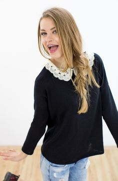 Put some lace on your jumper #jumper #lace #fashion #fashionideas #clothesupcycling #upcycling #womensfashion #sewingideas #sewingpattern #freepattern #sewing #pattern #embroidery