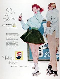 Pepsi-Cola 1958 Rollerskating Beauty - Mad Men Art: The 1891-1970 Vintage Advertisement Art Collection