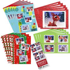 NEW for 2014!  Spread a little joy this holiday season with some of your favorite characters from the animated TV classic, Rudolph the Red-Nosed Reindeer. This nostalgic set includes a total of 20 cards featuring four different designs from one of the Rudolph the Red-Nosed Reindeer United States Postal Service Forever stamps. A booklet of 20 of the stamps is also included. #Rudolph #ShineBright