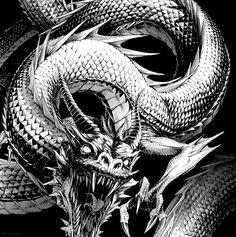 Silver for monsters, Steel for humans : Photo dragon Dark Fantasy, Fantasy Art, Tenjou Tenge, Dragons, Chinese Dragon Tattoos, Geniale Tattoos, Dragon Tattoo Designs, Arte Horror, Dragon Art