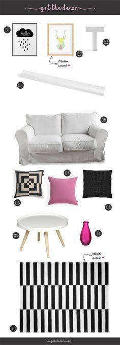 Get the decor P&B com toque rosa | Bangalô da Tati