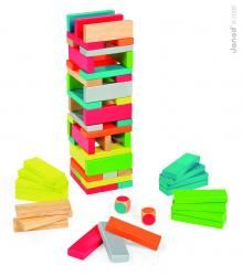 Drevená skladačka Equilibloc Color Janod 7 farieb 60 ks