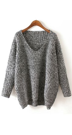 V Neck Chunky Knit Grey Dolman Sweater . Time to pulled into this warm cable knit loose sweaters .★◆long sleeve v neck oversized sweater can't to be more easy outfit at fall !★★★