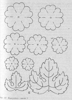 hmel выкройка листьев и соцветий хмеля