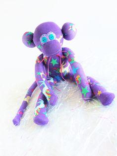 Sock Monkey-Unicorn-Unicorns-Handmade-Monkey-Purple-Stars-Green, Pink, Horse…