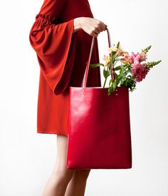 SPRING SALE Coral Red Leather Tote bag No.Tl 1071 by CORIUMI