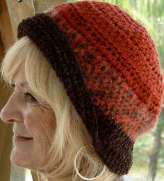 Orange Crochet Hat  Brown  Woman  Handmade  by hatsbyanne1942, $43.00