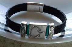 Black leather bracelet with horse motif black by DesertRoses3, $40.00