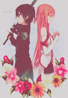 Kirito and Asuna ~ Sword Art Online. I'm totally in love with this anime! Schwertkunst Online, Arte Online, Online Anime, Manga Anime, Fanarts Anime, Manga Art, I Love Anime, Awesome Anime, Noragami