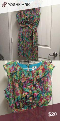Chiffon Dress with ruffle and tie belt This colorful chiffon dress has a ruffled front, a tie around belt, and elastic waist. Super comfy and pretty. Never worn, only tried on once. Dresses Midi