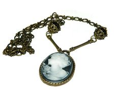 Victorian Cameo Necklace Bronze Chain by JewelrybyDecember67