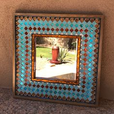 Large Turquoise and Copper Southwest Mirror by on Etsy Stained Glass Frames, Wood Frame, Mosaic, Frame, Glass Tile, Copper Mirror, Mirror, Mirror Painting, Glass Frames