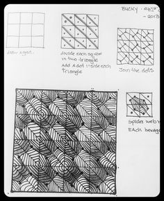 Doodle Patterns, Zentangle Patterns, Paper Patterns, Zentangle Drawings, Doodles Zentangles, Zen Doodle, Doodle Art, Art Journal Inspiration, Bucky