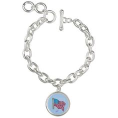 American Flag Silver Round Charm Bracelet by MoonDreams Music #silver #charmbracelet #Americanflag #patriotic #4thofJuly #moondreamsmusic #accessories