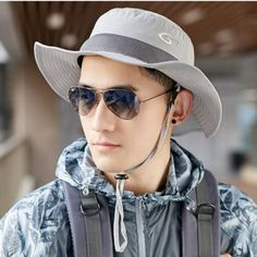 ec4eb8763e8 Summer fishing bucket hat with string for men outdoor UV fisherman hats