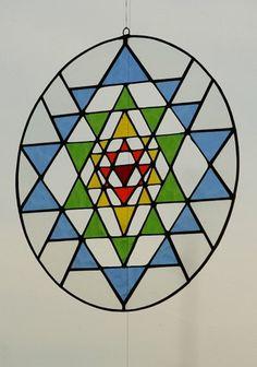 Sri Yantra Meditation suncatcher stained glass by Mownart Sri Yantra, Stained Glass Designs, Stained Glass Patterns, Sanskrit, Shiva, Mandala Yoga, Yoga Decor, Mother Goddess, Mandala Pattern