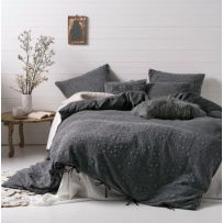 Linen House Abigail Charcoal Queen Quilt Cover Set