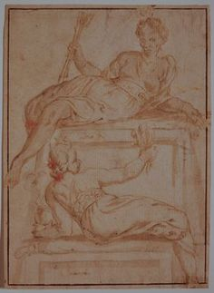 Veronese School (Venice, late 16th-early 17th century) – Allegorical figures of Africa and Asia; Brush and brown ink and wash and black chalk on cream laid paper, c.1600