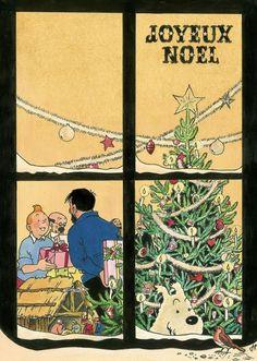 Tin Tin Cartoon, Vintage Christmas, Merry Christmas, Fine Wine And Spirits, Illustration Noel, Karten Diy, Lucky Luke, Comic Movies, Medieval Art