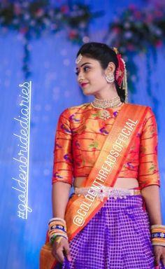 Half Saree Designs, Silk Saree Blouse Designs, Kids Ethnic Wear, Kids Blouse Designs, Half Saree Lehenga, Designer Blouse Patterns, Stylish Sarees, Indian Designer Wear, Indian Outfits