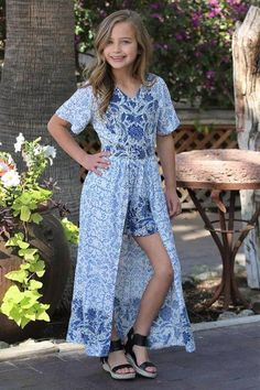 2019 Spring Kids Fly Away Maxi Cream Print Romper - Jumpsuits and Romper Preteen Girls Fashion, Teen Fashion Outfits, Kids Fashion, Girl Outfits, Fashion Clothes, Cute Blue Dresses, Vintage Kids Clothes, Dresses For Tweens, Rompers For Kids