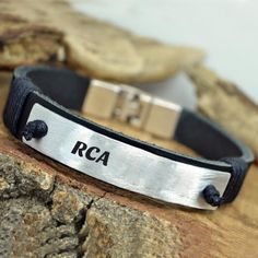 Hand Stamped Mens Leather Bracelet With Your Name
