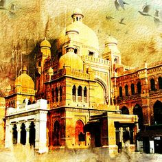 Lahore Museum by Catf Islamic Paintings, Indian Art Paintings, Islamic Art Calligraphy, Calligraphy Tools, India Painting, Watercolor Architecture, Building Art, Art World, New Art