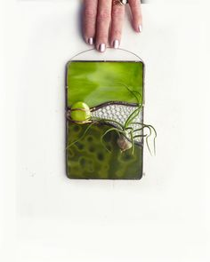 Stained Glass Panel Air Plant Holder   Green Valley by glassetc