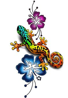 Gecko And Hibiscus Tattoo Design By Lauzon Tattoology- I like the flowers Frog Tattoos, Love Tattoos, Body Art Tattoos, Tattoos For Women, Small Tattoos, Key Tattoos, Tattoos For Guys, Tattoo Gecko, Lizard Tattoo