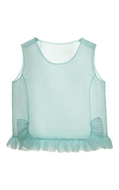 This matte jacquard cloque top from Rochas is sleeveless and features a round neck and wrap-effect silouette with ruffle trim. Slips on65% silk, 35% polyamideSilk liningMade in ItalyPlease note: This item is returnable for credit or full refund.