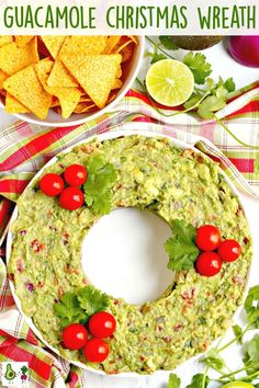 This Guacamole Christmas Wreath Appetizer is perfect for holiday parties. This Guacamole Christmas Wreath Appetizer is perfect for holiday parties. Not only does it look fes Holiday Appetizers, Yummy Appetizers, Appetizer Recipes, Holiday Recipes, Holiday Parties, Appetizer Ideas, Holiday Ideas, Christmas Party Food, Christmas Cooking