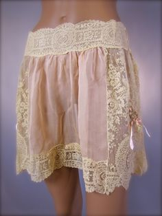 Popular #Vintage Picks: 1920's French Brussels Lace & Silk knickers.    Just incredible and hard to believe women wore such delectable boudoir garments! These of course were likely never worn. Perhaps they were framed the moment they were produced.?!? --But, who could resist wearing such a luscious garment of wearable art?!