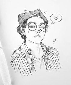 Kpop Drawings, Pencil Art Drawings, Art Drawings Sketches, Korean Illustration, Taehyung Fanart, Boy Drawing, Sketch Painting, Kpop Fanart, Character Drawing