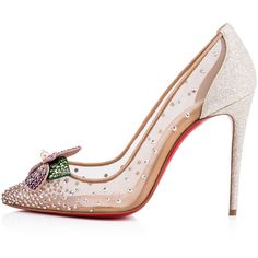 Feerica 100 Version Ab Strass - Women Shoes - Christian Louboutin (€1.275) ❤ liked on Polyvore featuring shoes, flower shoes, nude shoes, glamorous shoes, christian louboutin and multi color shoes