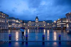 Trieste Piazza Unità Italia under rain - Venezia Giulia area - Italy