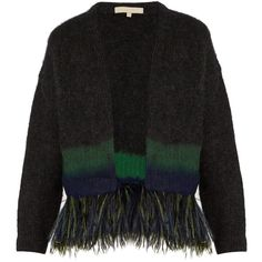 Vanessa Bruno Five feather-embellished cardigan ($978) ❤ liked on Polyvore featuring tops, cardigans, navy, ombre top, navy cardigan, navy top, embellished cardigan and chunky cardigan