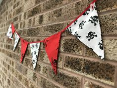 This bunting is now available in my shop! Halloween Bunting, Halloween Crafts, Flags, I Shop, Red And White, Skull, Fun, Handmade, Hand Made