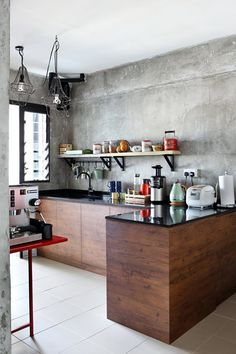 An Industrial and Eclectic Look for a HDB Flat by Green And Lush Grey Kitchens, Home Kitchens, Renovation Budget, Grey Cabinets, Concrete Wall, Grey Wood, Scandinavian Home, Industrial Chic, House Design