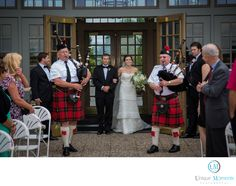 "Tacoma, Seattle, Washington Wedding Photographer - Unique Moments Photography - Destination Wedding Photographer Maple Grove Minnesota: Unique Moments Photography captured this image at the Rush Creek Golf Club in Maple Grove Minnesota. We loved everything about the image.  ""Here comes Emma"". The bag pipe players are her uncles and close family friends. Dad and Emma had a front row seat and guests were treated to the awesome music. This was a fantastic way to get the brides entire family..."